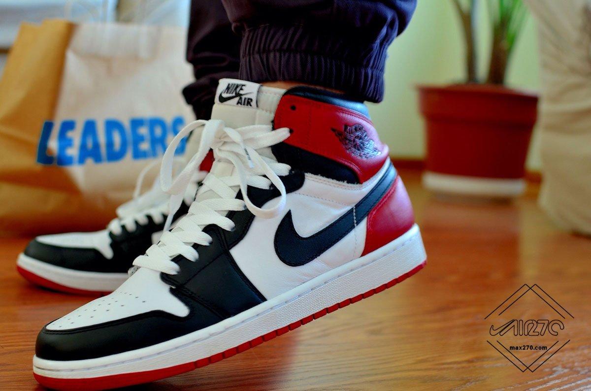 Air Jordan 1 Black Toe on feet