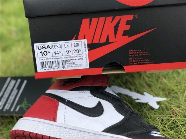 Air Jordan 1 Retro High OG Black Toe close look