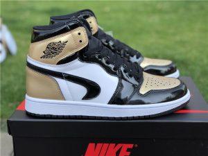 Air Jordan 1 Gold Toes Black with Upside Down Swoosh
