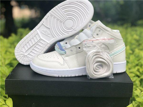 Air Jordan 1 Mid Grey Phantom Cotton-candy shoelaces