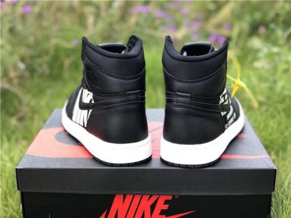 Air Jordan 1 Nike Swoosh Pack in Black heel