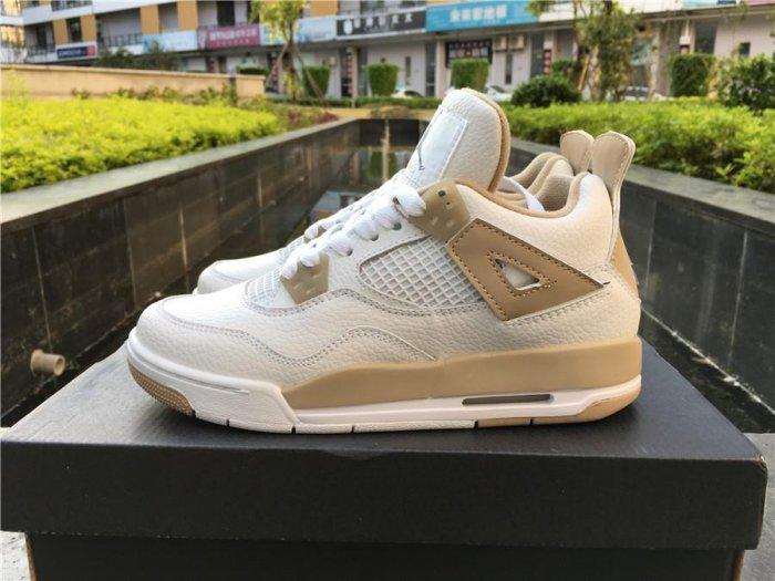 Air Jordan 4 GS Linen White Boarder Blue-Light Sand sneaker