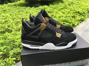 Air Jordan 4 Retro Royalty Black Suede Metallic Gold