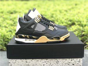 Air Jordan 4 Retro Wings Black White-Gold