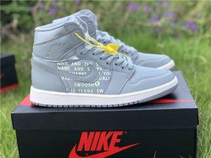 Grey Nike Air Jordan 1 Nike Swoosh Pack