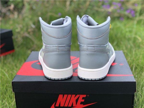 Grey Nike Air Jordan 1 Nike Swoosh Pack heel