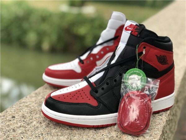 Jordan 1 Homage To Home Black Red White with shoelaces