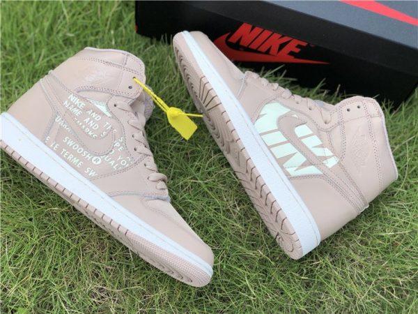 Nike Air Jordan 1 Nike Swoosh Beige for sale
