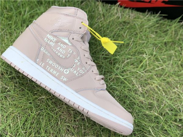Nike Air Jordan 1 Nike Swoosh Beige panel