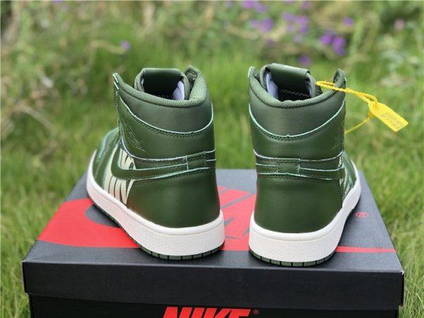 Nike Air Jordan 1 Nike Swoosh Olive heel