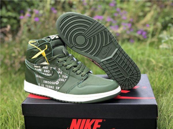 Nike Air Jordan 1 Nike Swoosh Olive shoes