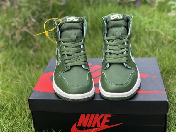 Nike Air Jordan 1 Nike Swoosh Olive tongue