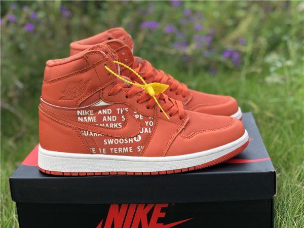 Nike Air Jordan 1 Nike Swoosh Orange
