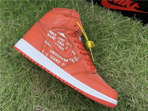 Nike Air Jordan 1 Nike Swoosh Orange panel