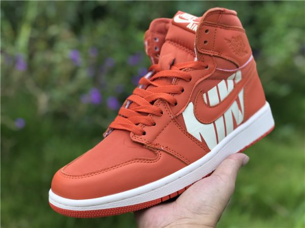 Nike Air Jordan 1 Nike Swoosh Orange shoes