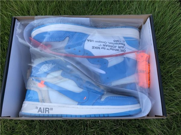 Off-White Air Jordan 1 UNC University Blue in box