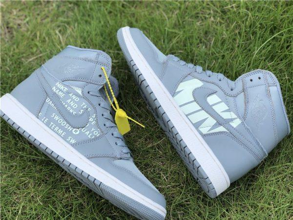 shop Grey Nike Air Jordan 1 Nike Swoosh Pack
