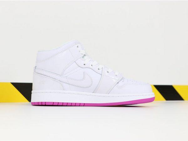 Grade School Nike Air Jordan 1 Mid White Fuchsia Blast