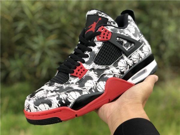Jordan 4 Retro Tattoo 2018 Black Fire Red shoes