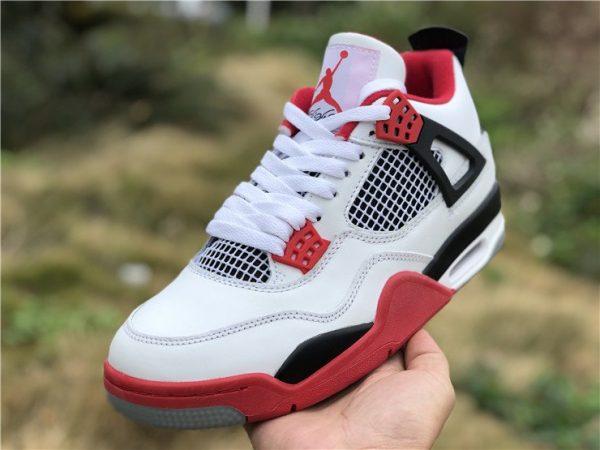 Air Jordan 4 IV White Fire Red Nike Swoosh Air Shoes