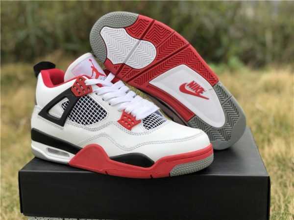 Air Jordan 4 IV White Fire Red Nike Swoosh Air sneaker