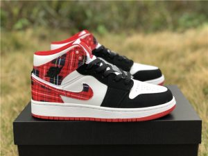 GS Air Jordan 1 Mid White Plaid