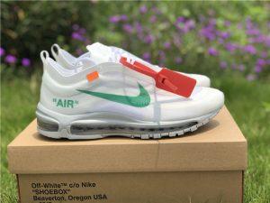 Off-White X Nike Max 97 Wolf Grey-White-Menta Green Swoosh