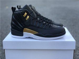 Air Jordan 12 Midnight Black Black Metallic Gold