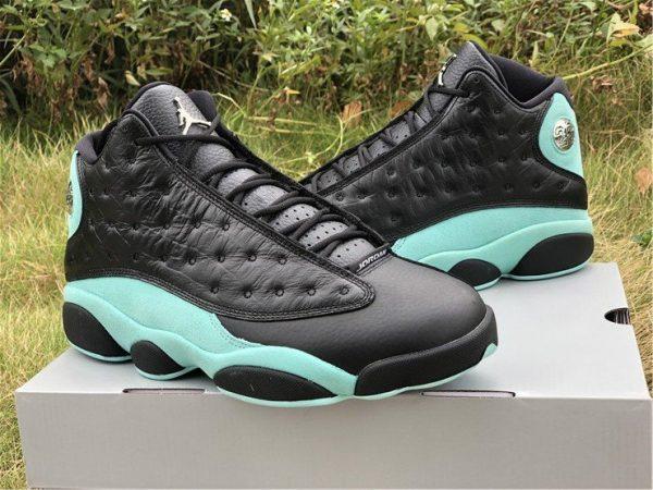 Island Green Air Jordan 13s black