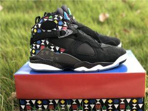 Black Jordan 8 Retro Quai 54 panel