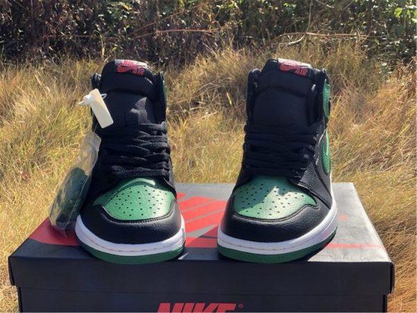 Air Jordan 1 High OG Black Pine Green nike air on tongue