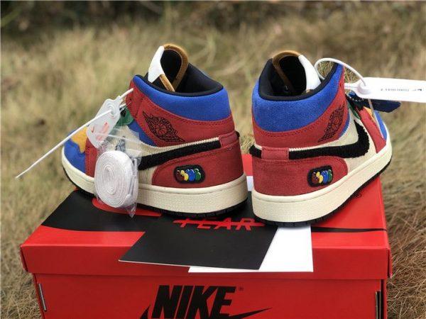 Blue the Great x Jordan 1 Mid SE Fearless blue heel
