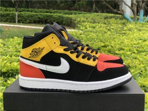 GS Air Jordan 1 Mid SE Black Amarillo Orange