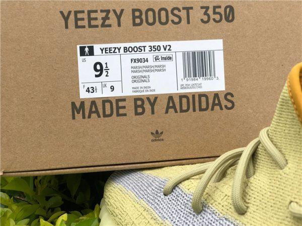 adidas Yeezy Boost 350 V2 Marsh yellow box tag