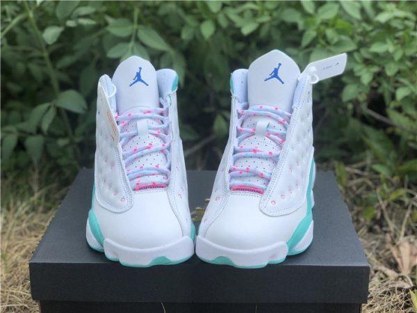 2020 Air Jordan 13 GS White Soar-Aurora Green-Digital Pink 439358-100 Front