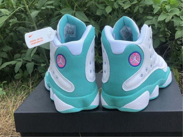 2020 Air Jordan 13 GS White Soar-Aurora Green-Digital Pink 439358-100 Heel