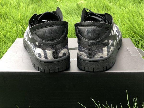 COMME des GARCONS x Nike Dunk Low Black CZ2675-001 Heel