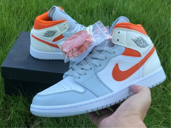 2020 Jordan 1 Mid Starfish Orange Pure Platinum shoes