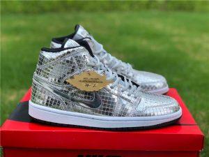 Air Jordan 1 Mid Disco Ball Metallic Silver Black-White