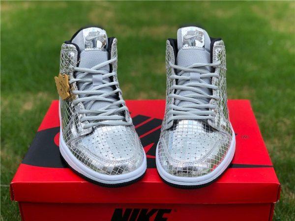 Air Jordan 1 Mid Disco Ball Metallic Silver Black-White Front