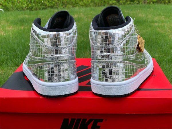 Air Jordan 1 Mid Disco Ball Metallic Silver Black-White Heel