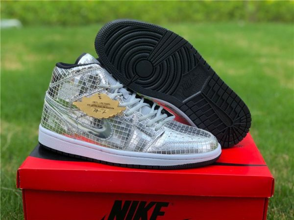 Air Jordan 1 Mid Disco Ball Metallic Silver Black-White Sale