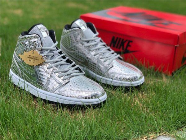 Buy Air Jordan 1 Mid Disco Ball Metallic Silver Black-White