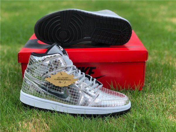 Cheap Air Jordan 1 Mid Disco Ball Metallic Silver Black-White