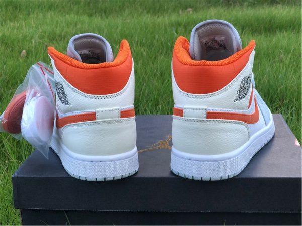 Jordan 1 Mid Starfish Orange Pure Platinum heel