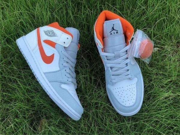 Jordan 1 Mid Starfish Orange Pure Platinum swoosh