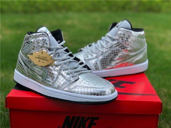 New Air Jordan 1 Mid Disco Ball Metallic Silver Black-White