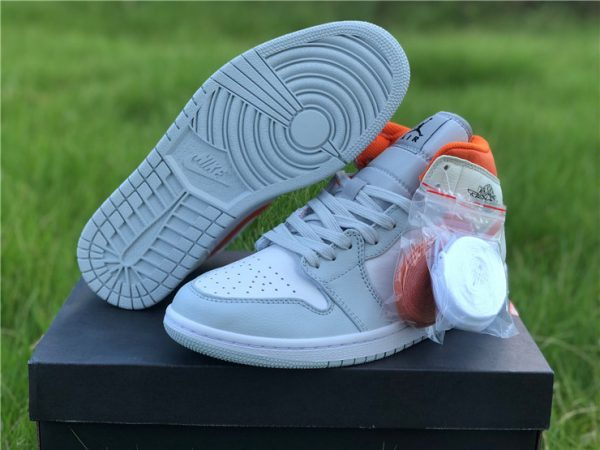new Jordan 1 Mid Starfish Orange Pure Platinum