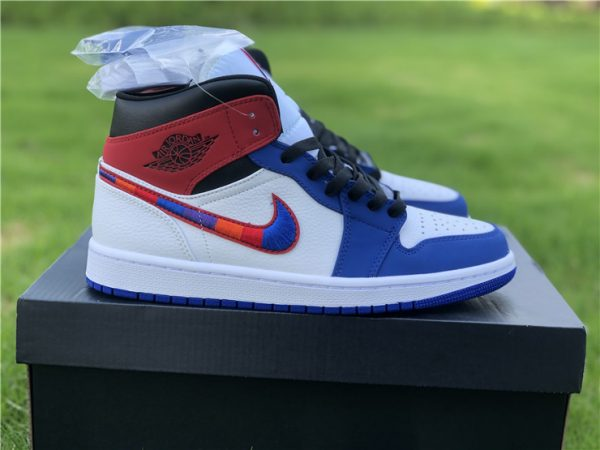 Air Jordan 1 Mid Blue Red Embroidered Swooshes