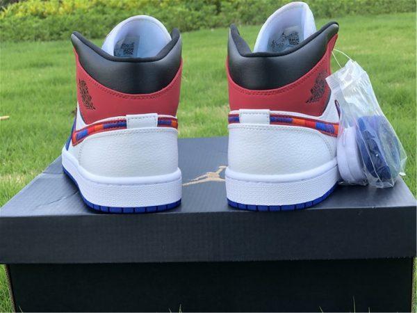 Air Jordan 1 Mid Blue Red heel